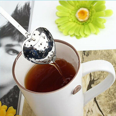 Mini Cute Heart Stainless Steel Tea Shower Strainer Spoon Handle Steeper Infuser ()