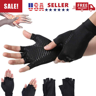 1 Pair Compression Copper Fit Arthritis Gloves Hand Pain Relief Support Joint US