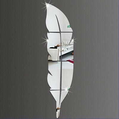 Decalcomania per adesivi murali specchio a forma di piuma autoadesiva fai-da-te