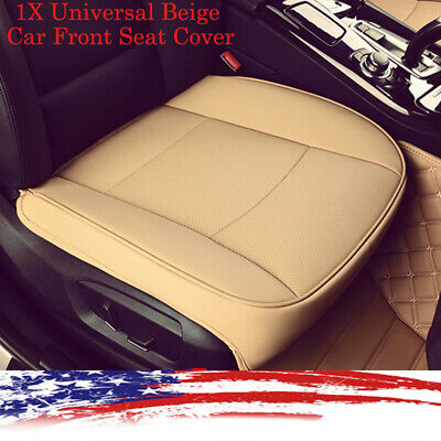 1X Universal Beige Car Front Seat Cover Breathable PU leather DeluxeSeat Cushion