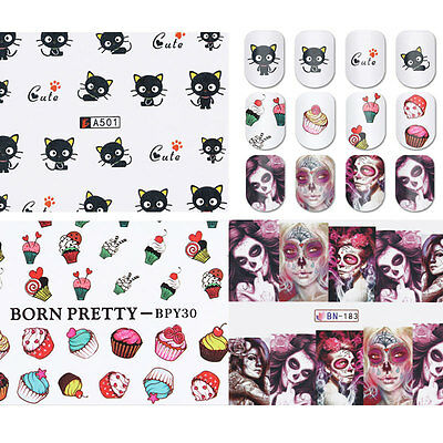 3 Sheets Nail Art Stickers Water Transfer Decals Cat Cakes Halloween Girls - Cat Halloween Nails