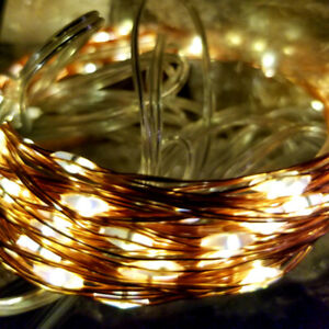 33ft 100 LED Solar Copper String Lights with Solar Panel
