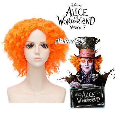 Mad Hatter Perücke (35cm Orange Curly For Alice in Wonderland 2 Mad Hatter Cosplay Perücke Wig + Cap)