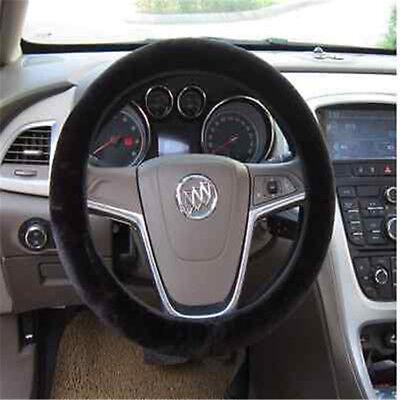 Warm Black Plush Car Steering Wheel Cover Protector Furry Fluffy Accessory 38cm