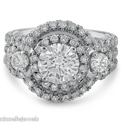 2.87CTW ROUND CUT ANTIQUE STYLE DIAMOND ENGAGEMENT RING