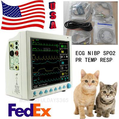Us 12.1 Color Lcd Veterinary Patient Monitor Animal Ecg Nibp Spo2 Pr Temp Resp