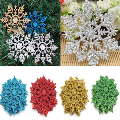 10Pcs Christmas Glitter Snowflakes Tree Topper Hanging Ornament DIY Home Decor - Hanging Snowflakes