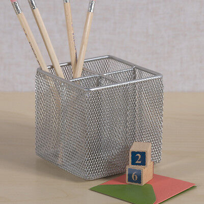 Office Organizer Ideas (Silver Mesh Pen Pencil Cube Holder Rack Desk Office Organizer by Design)