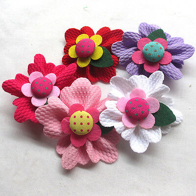 5/15/30/150PCS Large 6CM Padded Felt Ribbon Flowers Bow Appliques Decor Mix A463