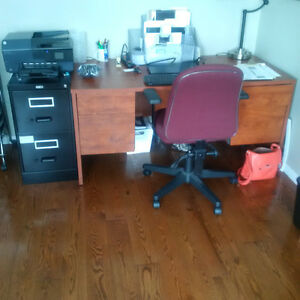 All wood Office Desk + 2 Drawer Black Metal File Cabiinet