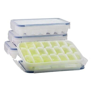 KOMAX Biokips Ice Cube Tray with No-spill Cover (Set of 4) BPA Free