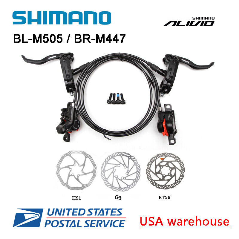 SHIMANO Alivio BL-M505 BR-M447 2 Pistons Hydraulic Disc Brake Set M446 MTB OE