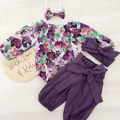 US Stock Newborn Baby Girls Floral Romper Pants Headband Outfit Clothes 3PCS - Winter Clothes Girls