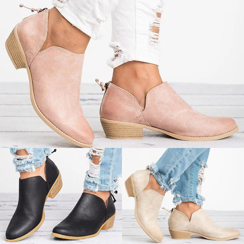 Womens Low Heels Ankle Boots Booties Round Toe Zipper Casual Shoes Size 6-10.5