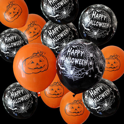10/20pcs Pumpkin Balloon Happy Halloween Inflatable Ball Party Supplies Latex UK