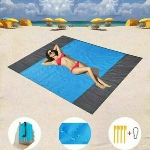 Portable Folding  Sand Proof Beach Blanket Extra Large Beach Mat for 6 Adults US