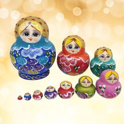 10 Pcs Wooden Russian Nesting Dolls Matryoshka Handmade Stacking Girl Gift Toys