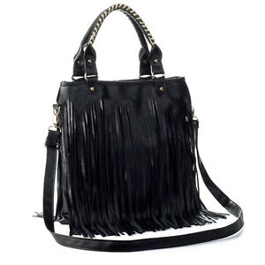 Lady Cute Hobo PU Leather Shoulder Tote Bag Handbag Fringe Tassel Purse