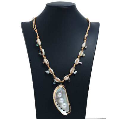 Fashion Sea Shell Pearl Handmade Bead Knotted Party Beach Necklace Ladies Gift - Fashionable Shell Beads Necklace