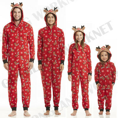 Family Matching Christmas Pajamas Set Mom Dad Kids Deer Sleepwear Nightwear Zip (Matching Family Pajamas Christmas)