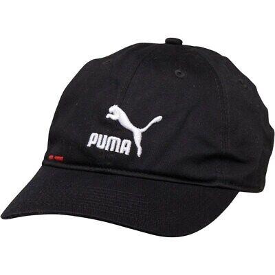 New Puma Mens Logo BB Baseball Cap, Black/White/Red
