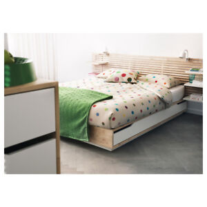 Solid Wood Birch Queen Bed (IKEA Mandal)