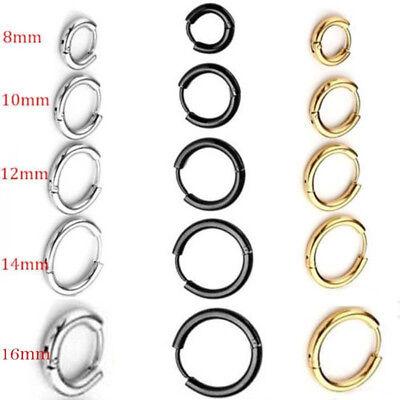 Men's Women's Stainless Steel Tube Ear Stud Hoop Huggie Punk Earring Jewelry UK