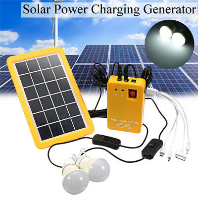 Solar Power Panel Generator System LED Light 5V USB Charger Home Outdoor Garden