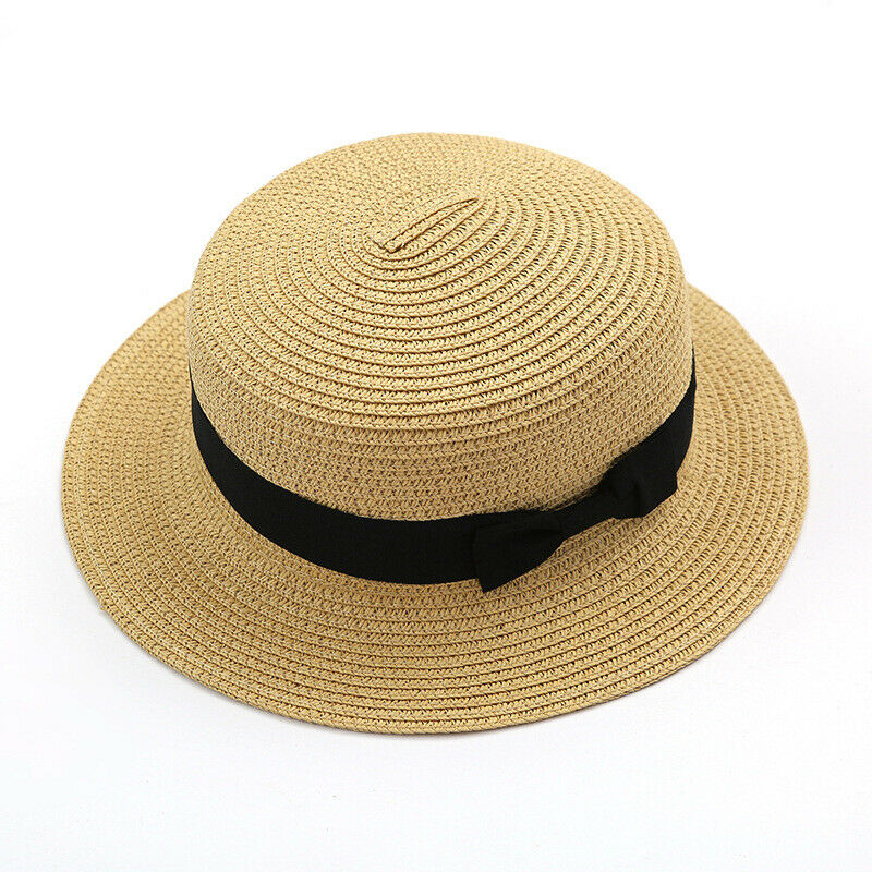 Women's Bowler Straw Hat Ladies Wide Brim Flat Floppy Summer Beach Casual Cap Clothing, Shoes & Accessories