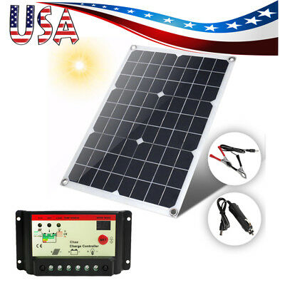 18V 20W Watt Solar Panel Battery Charger Controller Kit+Controller Semi Manageable