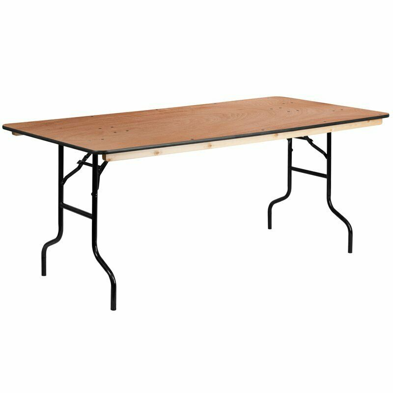"""Flash Furniture 36"""" x 72"""" Wood Folding Table in Natural"""