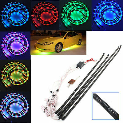 7 Color LED Under Car Glow Underbody Remote System Neon Light Kit. UK SELLER