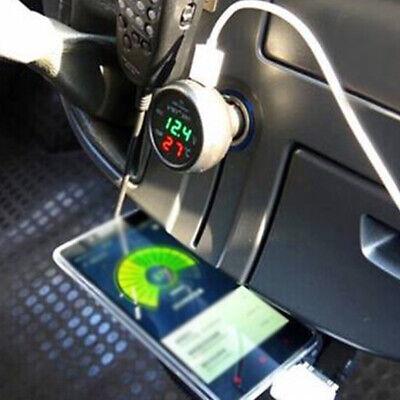 3 In1 Car 12V USB Port Plug Thermometer Voltage Detection Volt Meter Socket
