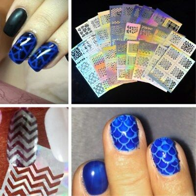 23Pcs Nail Art Accessories Vinyl Stencil Guide Sticker Decal Curved Wave Laser