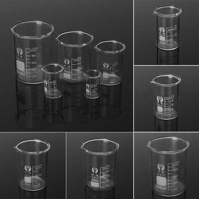 5 10 25 50 100ml 1set Low Form Glass Beaker Borosilicate Measuring Lab Glassware