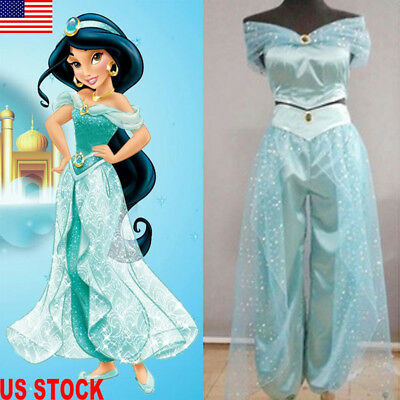Females Halloween Costumes (Halloween Aladdin Jasmine Princess Cosplay Womens Girl Fancy Dress Party)