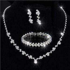 Bridesmaid Crystal Necklace Earrings Bracelet Set Bridal Wedding Jewellery Gifts