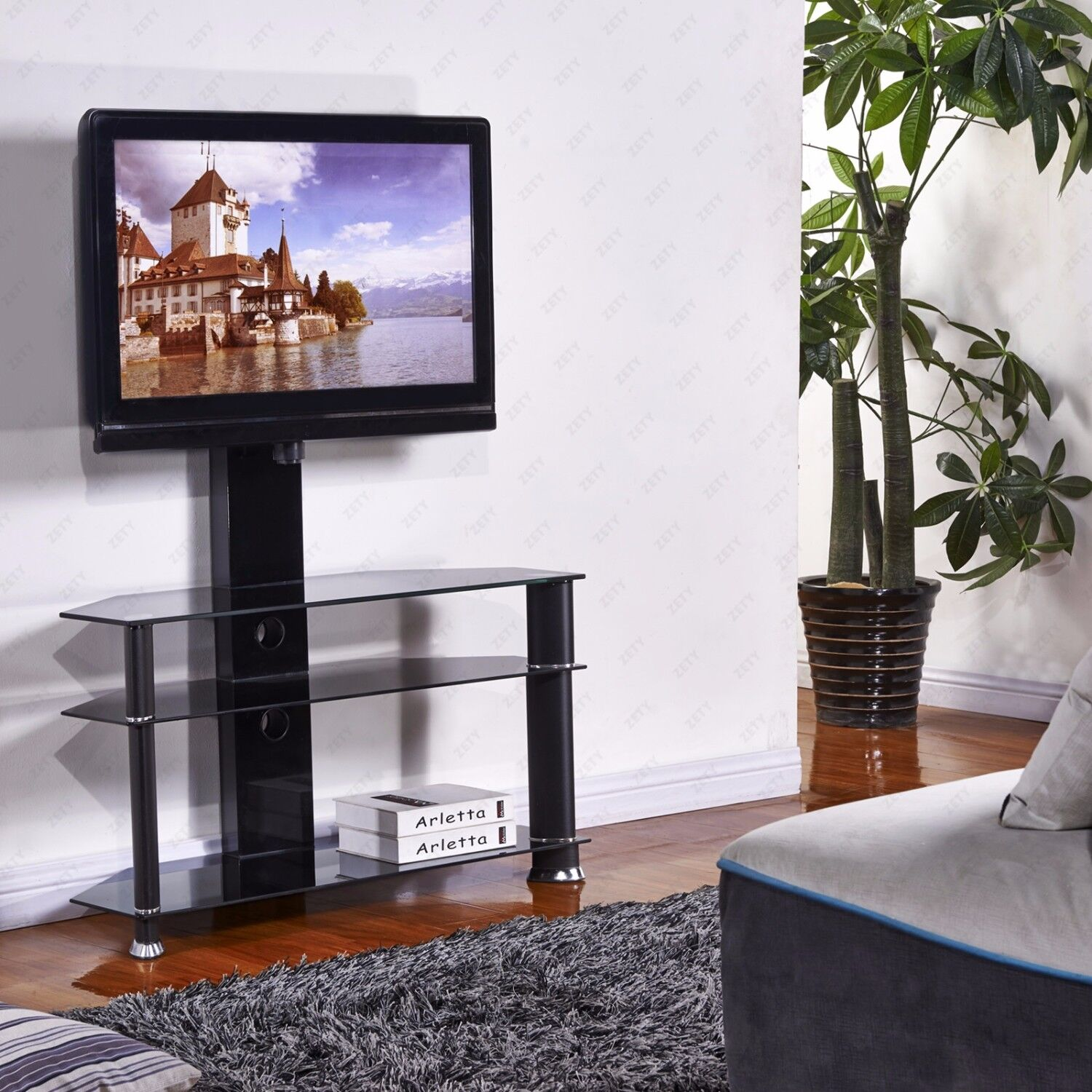 """Kenwell 32/""""-55/"""" Cantilever Tempered Glass Black TV Stand w//Bracket Plasma LCD TV"""