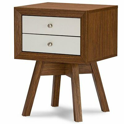 Baxton Studio Warwick 2 Drawer End Table in Walnut and White
