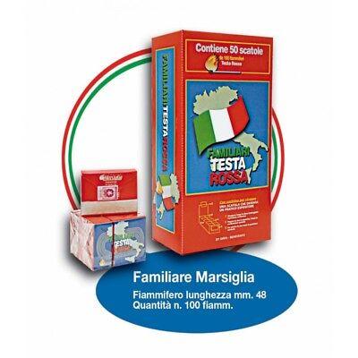 Fiammiferi Familiari Marsiglia Testa Rossa - 1 Box da 50 scatoline da 100 fiammi