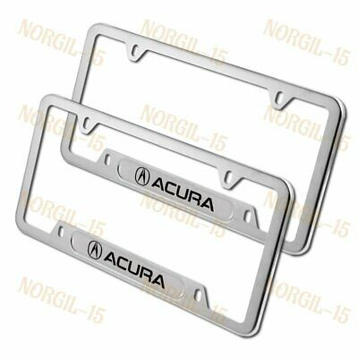 2PCS For ACURA Silver Metal Stainless Steel License Plate Frame MDX RDX TSX TL