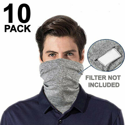 Face Mask Cotton Washable With Filter Pocket Reusable Mouth Cover Gray 10 PCS Accessories