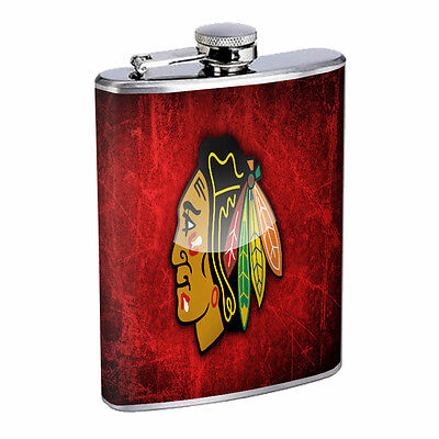 Chicago D4 Flask 8oz Stainless Steel Hip Blackhawks Whiskey Rum Scotch