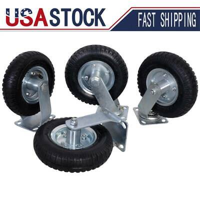 8 Inch 4pcs Pneumatic Air Tire Wheels 2 Rigid 2 Swivel Hd Farm Cart Caster Us