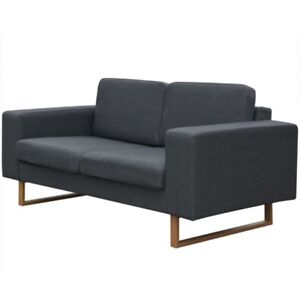 New 2 Seater Fabric Sofa Couch Lounge In Dark Grey