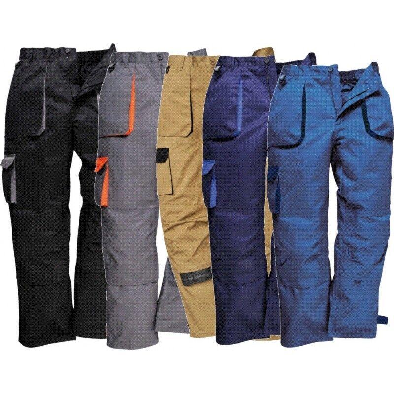Portwest TX11 Texo Contrast Work Wear Trousers Elastic Waist Knee Pad Pockets***