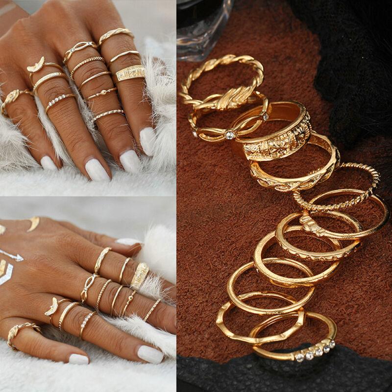 12Pcs/Set Women Vintage Gold Boho Midi Finger Knuckle Rings