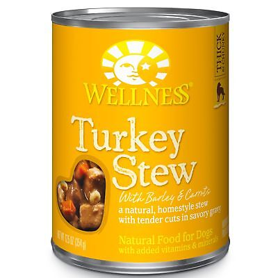 Wellness Thick  Chunky Natural Wet Canned Dog Food, Turkey Stew, 12.5-Ounce Can