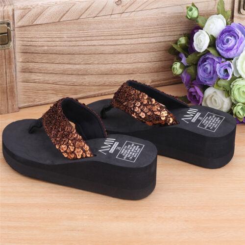 Women Girls Soft Platform Shoes Wedge Sandals Sequins Thong Slippers Indoor