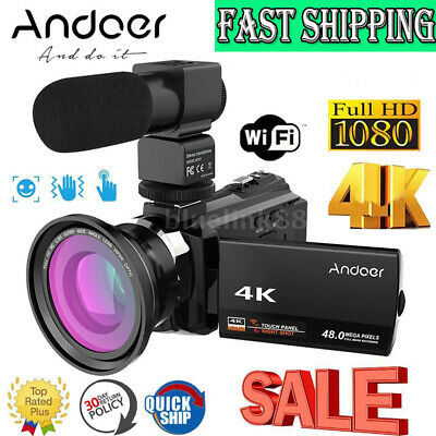 "4K WiFi Ultra HD 1080P 48MP 16X ZOOM 3"" Digital Video Camera Camcorder DV N9D6"